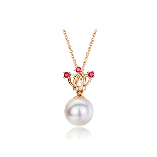 Daesar 18K Gold Necklace For Women Crown Hollow Pearls CZ Pendant Necklace Rose Gold Chain Length: 40CM by Daesar