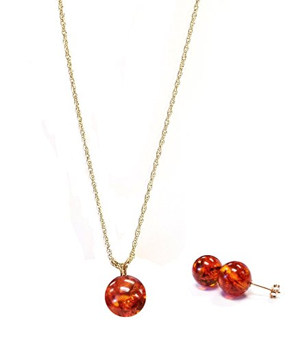 Regalia Jewels by Ulti 14K Yellow Gold 10mm Genuine Amber Round Stud Earrings and Pendant Set
