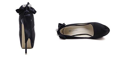High Single Chaussures Nightclub Heels Rhinestones Xianshu Bow Heel Women Noir Thin Tie Pompes Sexy PAFwx0zqp
