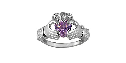 Sterling Silver 6mm Genuine Amethyst Celtic Claddagh Ring(size 7)