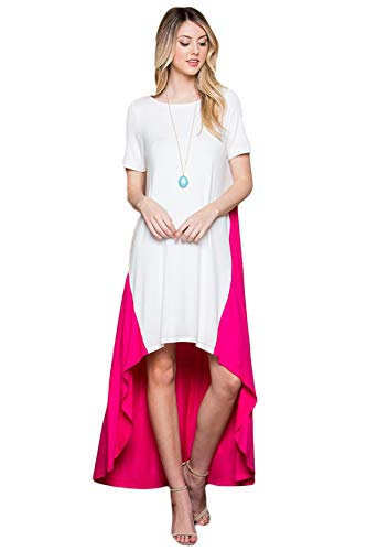 Women's Long Loose Casual Asymmetrical Oversize Handkerchief Hem Jersey Maxi Dress (Made in The USA) (Medium, White/Pink) ()