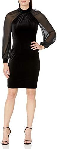 Calvin Klein Women`s Velvet Sheath DressIllusion Sleeves