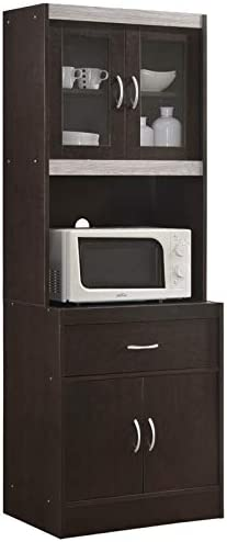 """Pemberly Row Tall 24"""" Wide China Kitchen Cabinet with Microwave Storage in Chocolate Gray"""