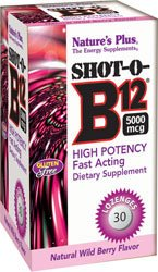 Natures Plus Shot-O-B12 (Cyanocobalamin) – 5000 mcg, 30 Vegetarian Lozenges – Natural Cherry Berry Flavor – High Potency Vitamin Supplement, Memory & Energy Booster- Gluten Free – 30 Servings