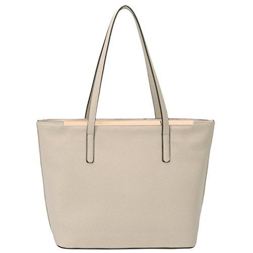 Creamy Handle Women's Top Tote DAVIDJONES Faux Bags Grey Purse Leather Shoulder yHBwaccWzq