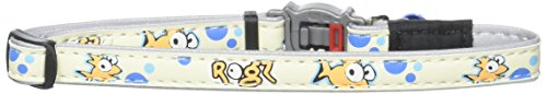 Rogz Glow in the Dark Reflective Cat Collar with Breakaway Clip and Removable Bell, fully adjustable to fit most breeds, Gold Fish Design