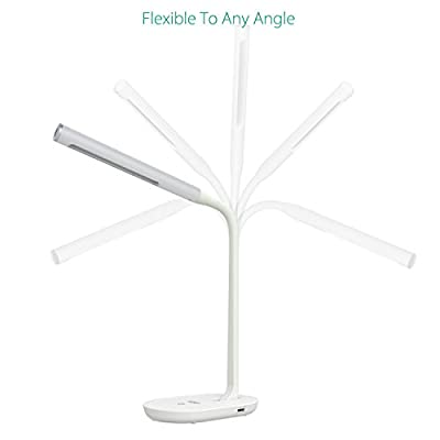 AUKEY Desk Lamp, Eye-care Dimmable LED Table Lamp 7W with USB Charging Port, 3-Level Dimmer, Touch-sensitive Control and Flexible Neck