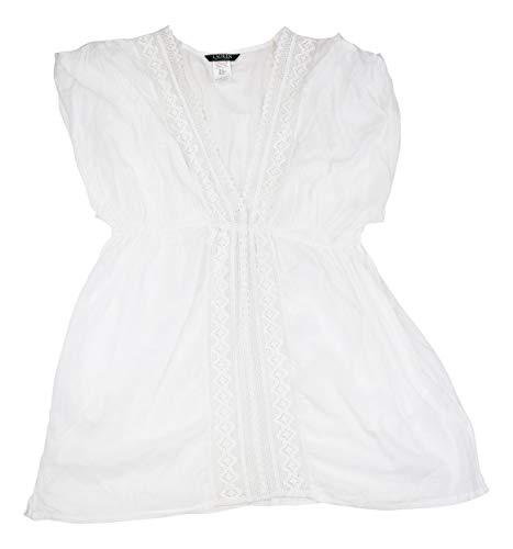 (Lauren Ralph Lauren Cotton Lace-Trim Cover-Up (XLarge) White)