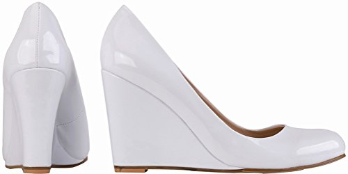 CFP Snug Womens Shallow Heel On Cozy Daily Office Vogue High 1QP Mouth Fashion Pointed Shoes 150 Pumps Slip Lightweight Wedge Elegant Handmade Business Toe YSE White tqUZrAt
