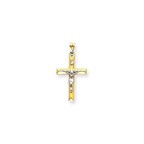 14k Two-tone Gold Inri Hollow Crucifix Pendant (Two Tone Inri Hollow Crucifix)