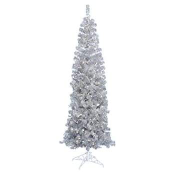 Vickerman Pre Lit Silver Artificial Pencil Tinsel Christmas Tree With Clear  Lights, 7.5u0027