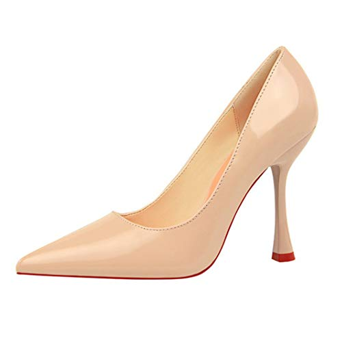 (Drew Toby Women Pumps Fashion Simple Patent Leather Shallow Mouth Pointed Sexy High Heels)