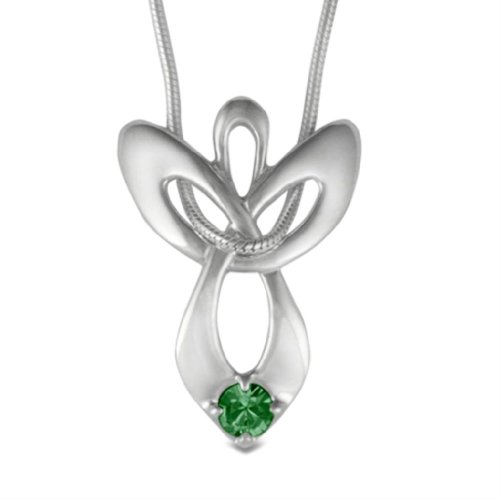 Loving Family - Sterling Silver May Swarovski Crystal Guardian Angel Necklace - 16