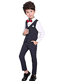f065ff03f43 luobobeibei Boys Suits 3 Pieces Slim Fit Fashion Formal Dress Wedding Party Kids  Suit