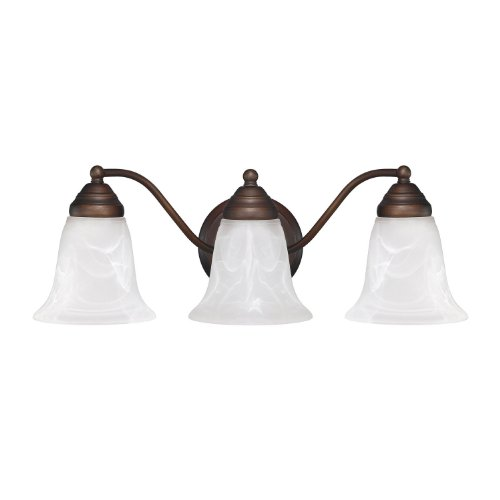 Capital Lighting 1363BB-117 Transitional 3-Light Vanity Fixture, Burnished Bronze Finish with White Faux Alabaster Glass