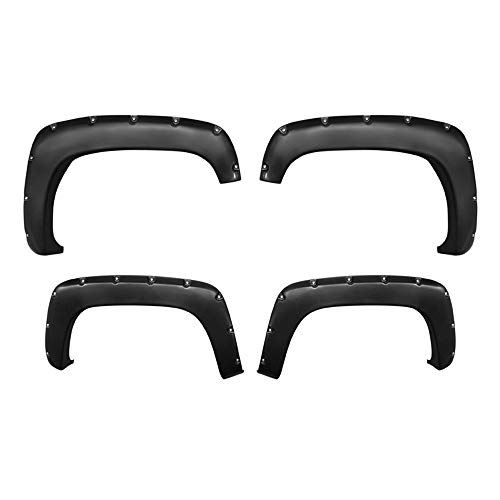 Premium Fender Flares for 1988-2000 Chevy/GMC C/K Pickup/Blazer/Tahoe/Suburban/Yukon | Smooth Matte Black Paintable Pocket Bolt-Riveted Style 4pc ()