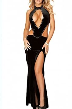 Sexy Shiny Black Velvet Dress Prom Dress Stripper Club wear Pole dancing size 40 38: Amazon.co.uk: Car & Motorbike