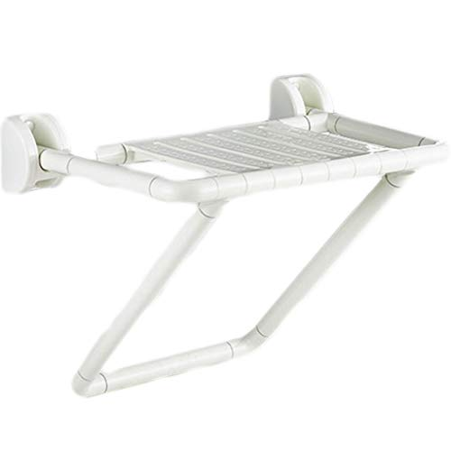 Shower Stainless Steel Seats (RENYAFEI Foldable Shower Seat Bathroom Stainless Steel Widening Household Shower Stool White Fluorescence Wall-Mounted)