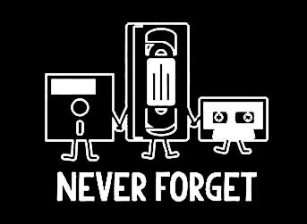 Makarios LLC Never Forget Funny Floppy disc VHS Casette Cars Trucks Vans Walls Laptop MKR| White |5.5 x 4.5|MKR916