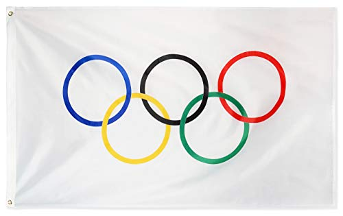 DANF Olympic Games 3x5 Foot Flag The Olympic Rings Banner with Grommets 3 X 5 Ft