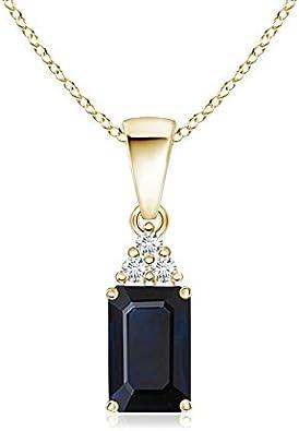 Colgante de zafiro azul de corte esmeralda con trío de diamantes (7 x 5 mm zafiro azul)