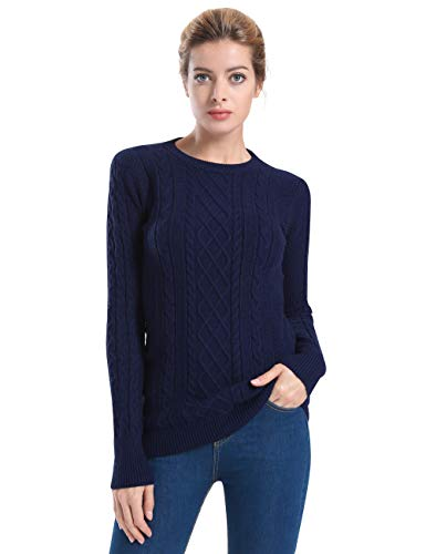 - ninovino Women's Sweater - Crew Neck Cable Knitted Navy(Thick) XL