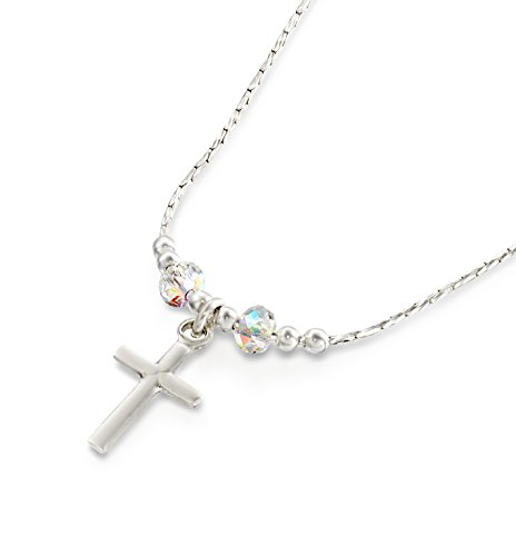 Ab Swarovski Crystal Cross Necklace - Girls Cross Pendant Made with Original Swarovski AB Crystals 925 Sterling Silver Necklace, 16