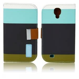 PU Leather Protective Case with Colorful Stripes for Samsung i9500 Light Blue