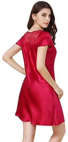 Corta Ropa Manga Pijamas Vestido Camisón Sin Noche Cuello Clásico Mujeres O Descubierta Splice Mujer Rot Unicolor Tirantes Dormir Espalda De Encaje faPWBqwq