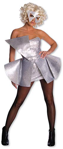 Celebrity Halloween Outfit (Lady Gaga Sequin Dress,Silver,X-Small)