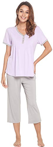 (NEIWAI Womens Short Sleepwear Bamboo Pjs Capri Pants Pajama Set Taro Purple S)