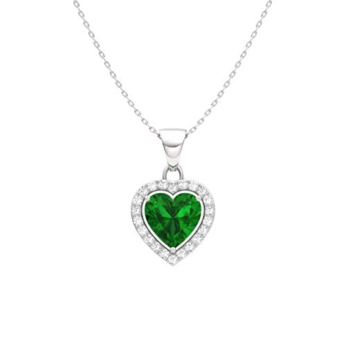 Diamondere Natural and Certified Emerald and Diamond Heart Petite Necklace in 14k White Gold | 0.51 Carat Pendant with Chain