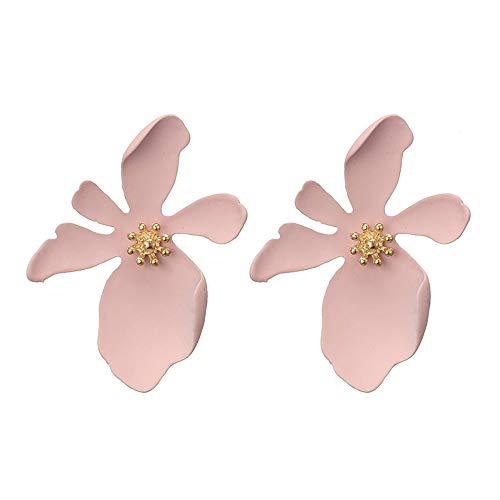 Boho Stud Earrings, Kimloog Women 3D Flower Statement Earrings with Gold Flower Bud(Pink) ()