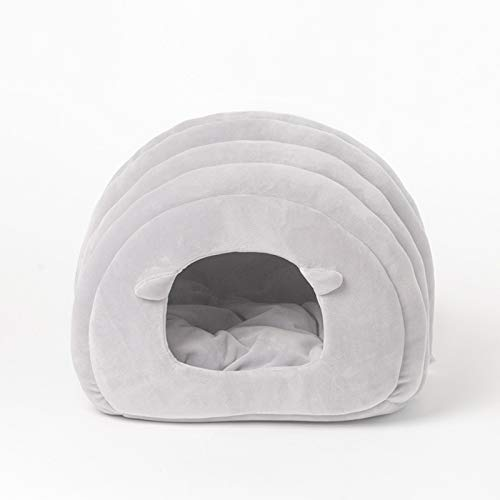 Light grey Cat Nest, Autumn and Winter Cat Litter Semi-Enclosed Cat House Folding Kennel Pet Warmth Supplies (color   Light Grey)