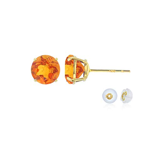Genuine 10K Solid Yellow Gold 6mm Round Natural Madeira Citrine November Birthstone Stud Earrings Citrine & Sapphire Round Earrings