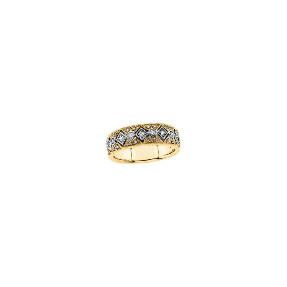 14k Two Tone Gold Diamond Bridal Anniversary Band Ring