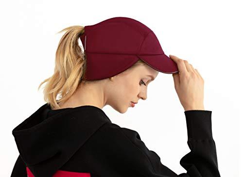 Womens Messy Bun Ponytail Winter Fleece Earflap Hat|Windproof Warmer Cap for Running Ski Gear Baseball Accessories Burgundy