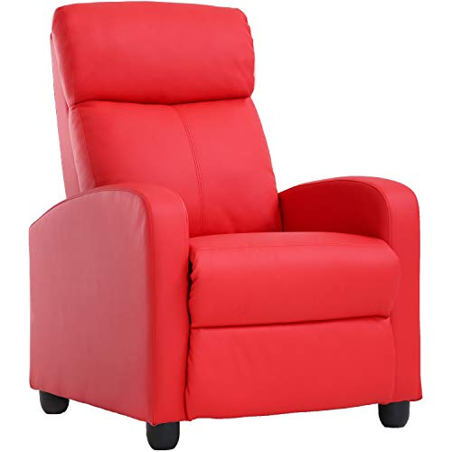 Recliner Chair for Living Room Recliner Sofa Reading Chair Winback Single Sofa Modern Reclining Chair Easy Home Theater Seating Lounge with PU Leather Padded Seat Backrest (Red) (Chair Red Modern)