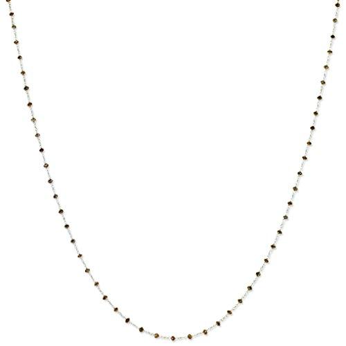 - 14k White Gold Brown Diamond Briolette Pendant Necklace 20inch (7.93ct)