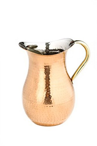 2.25 Qt Decor Copper Hammered Water Pitcher w/Brass Ice Guard/Handle