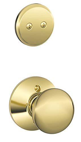 Schlage F94-PLY Plymouth Knob Dummy Interior Pack from The F-Series, Polished Brass ()
