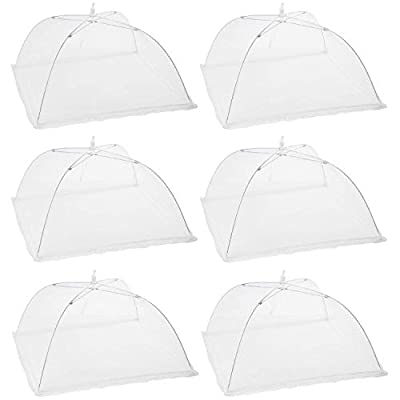 "Houseables Mesh Food Cover, Outdoor Pop-Up Canopy, 17""x17"", 6 pack, White Nylon, Picnic Table Tent, Patio Bug Net, Collapsible Plant Protector, Garden Umbrella, Reusable Dish Screen, for BBQs, Parties"