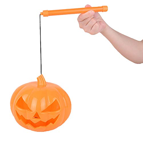 Sunworld LED Hollow-Out Smiley Halloween Pumpkin Plastic Glowing Portable Light with Battery and Sound (Orange, 5.91 inch)