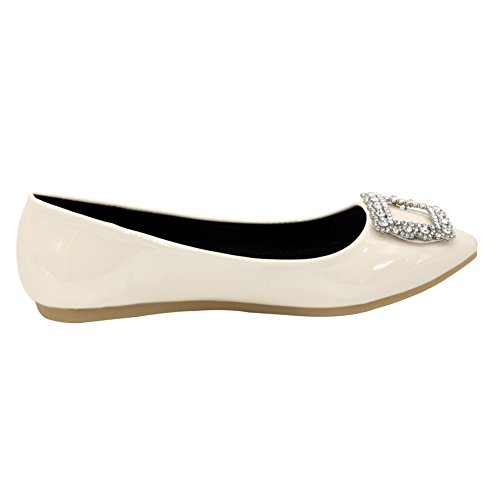 Aalardom Kvinnor Pekade Tå Fast No-häl Pådraglackläder Mjuk Material Flats-shoes Beige