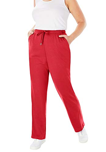 Woman Within Women's Plus Size Petite Sport Knit Straight Leg Pant