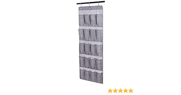 Amborido 20 Pocket Over The Door Shoe Organizer Hanging Storage 3 Hooks Gray