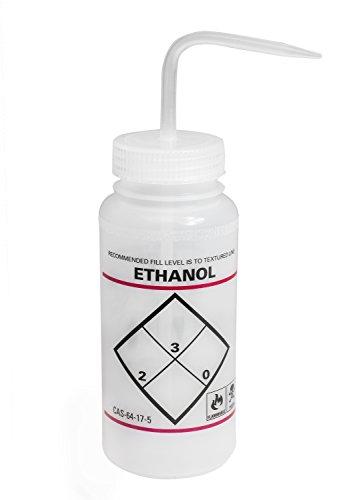 Bel-Art F11646-0639 Safety-Labeled 2-Color Ethanol Wide-Mouth Wash Bottles; 500ml (16oz), Polyethylene w/Natural Polypropylene Cap (Pack of 6) ()