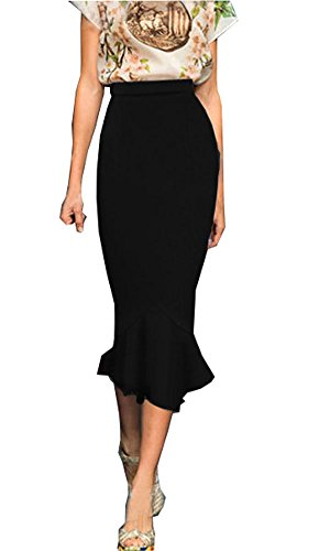 Forlisea Womens Elegant Hight Waist Bodycon Mermaid Pencil Maxi Skirt Black, -