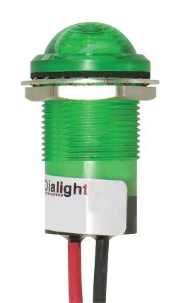 DIALIGHT 657-2602-103F PANEL MOUNT INDICATOR, LED, 17.463MM, GREEN, 5V (1 piece) (Indicator Led Green)