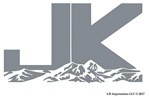 UR Impressions Silv JK Mountains Decal Vinyl Sticker Graphics for Jeep Wrangler 4x4 Unlimited Sahara Rubicon Moab Overland Arctic SUV Walls Windows Laptop|Silver|7.5 X 4.4 inch|URI482-S